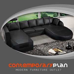 Details about Ultra Contemporary All Black Italian Leather Sectional Sofa  with Curved Chaise