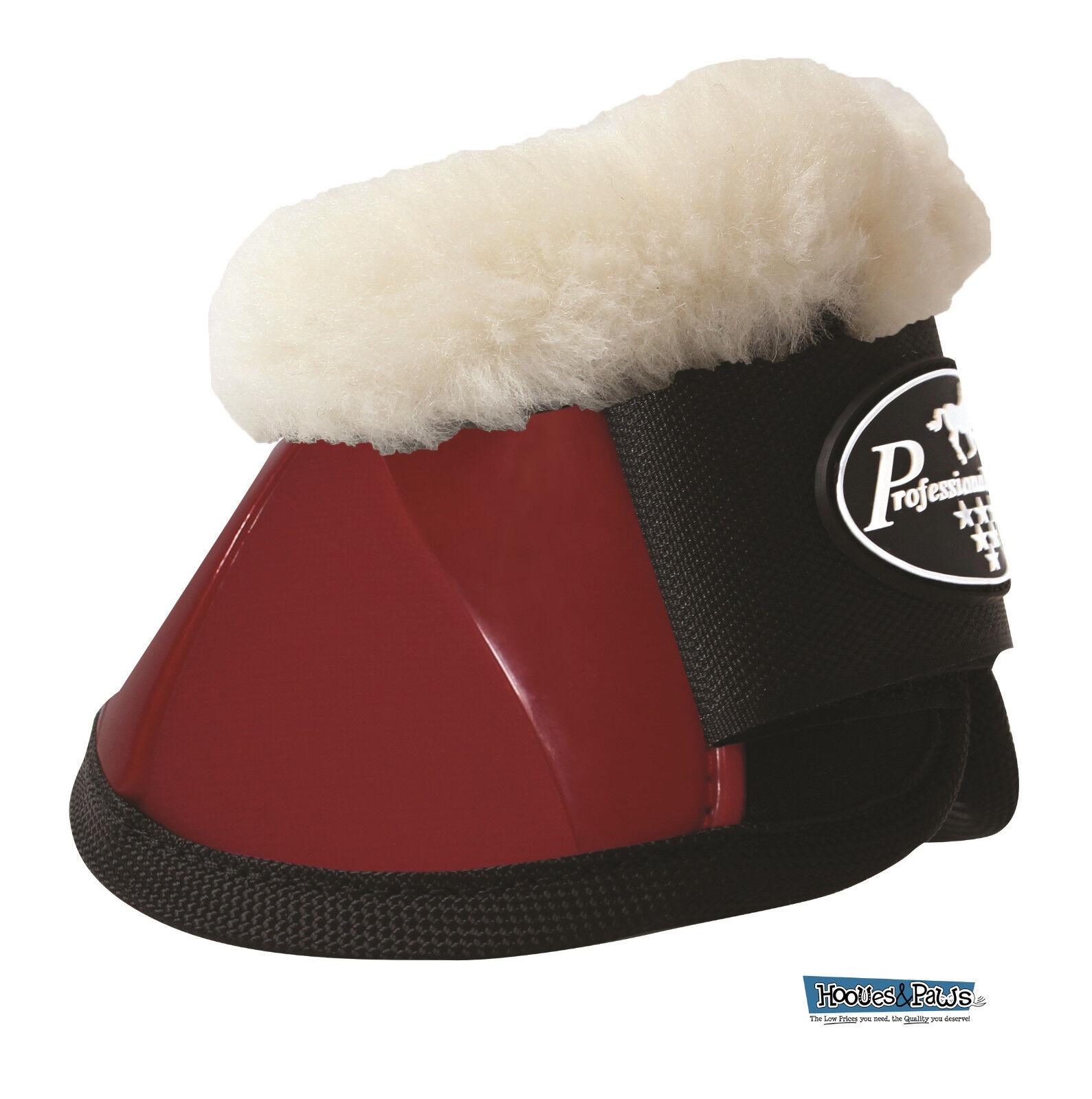 Professionals Choice Horse Spartan Ballistic Bell Boots w  Fleece Crimson Red