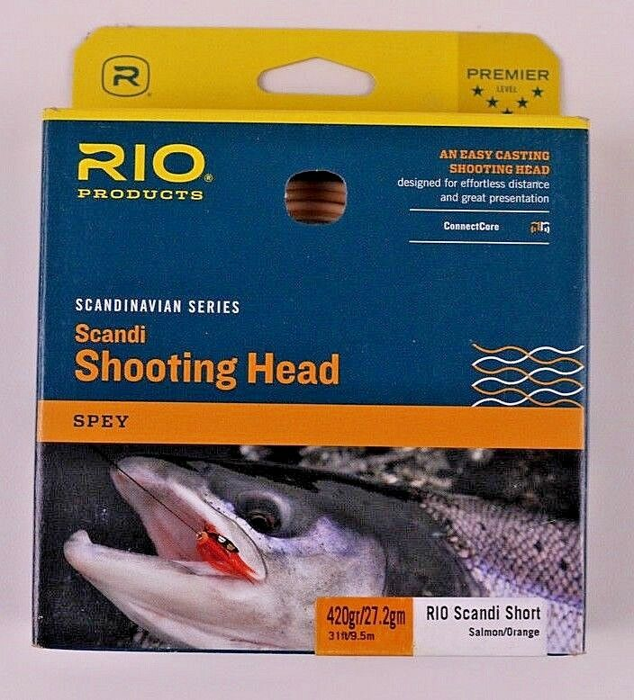 Rio Scandi Short 420 Grain Spey Head Salmon arancia Free Fast Shipping 620857
