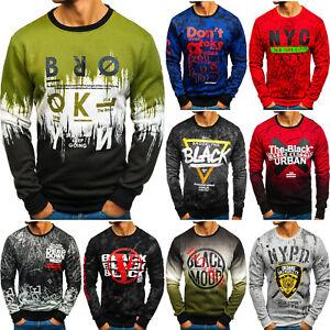 Sweatshirt-Langarmshirt-Rundhals-Pullover-Print-Herren-Mix-BOLF-1A1-Motiv-WOW