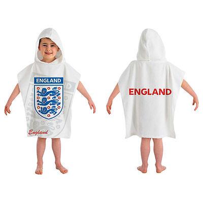 England Football 3 Lions Crest White Childrens Hooded Poncho Beach Bath Towel