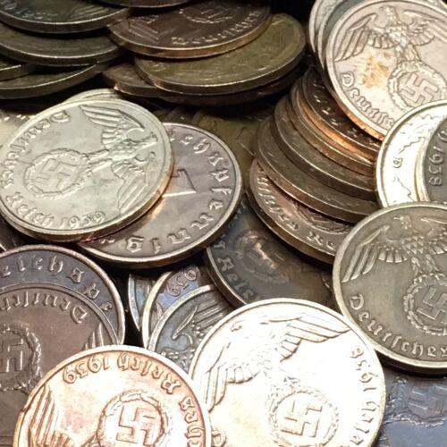50 Coin Lot Rare WW2 German 1 RP Reichspfennig 3rd Reich Bronze Nazi Coins