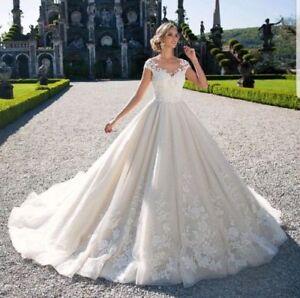 Wedding-Dresses-White-Ivory-V-Neck-Bridal-Ball-Gowns-Plus-Size-0-4-6-8-10-12-14