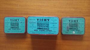 Lot-de-3-Boites-Metallique-Ancienne-034-Vichy-034-En-Bon-Etat