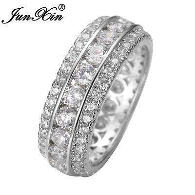 JUNXIN Eternity White Sapphire CZ Wedding Engagement Ring White Gold Size 6-10