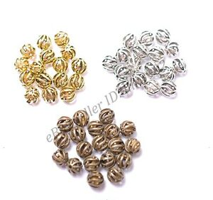 Tibetan-Silver-Round-Hollow-Spacer-Beads-Jewelry-Supplies-Findings-8MM-10MM