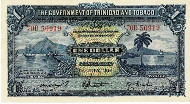 TRINIDAD AND TOBAGO - GOVERNMENT OF TRINIDAD AND TOBAGO 1948 1 DOLLAR P5 AUNC