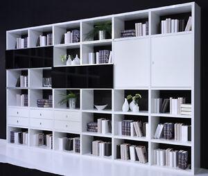Regalsystem Bücher toro regalsystem bücher weiß hochglanz mit türen schubladen wohnwand