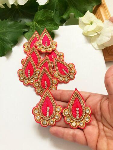 1 Paire Indian Diamonte Miroir Pierre Zari Work Sari Blouse Applique//Motif Style