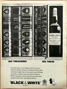 Black & White Old Scotch Whiskey His Treasures His Trove Vintage Advert 1965