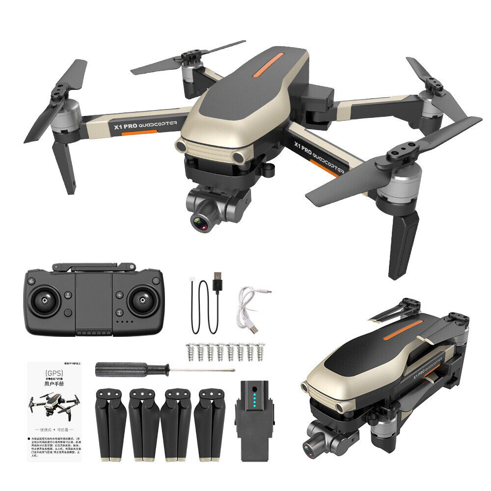 Golden & Black 4K Long range brushless wifi gesture drones with hd Dual camer...