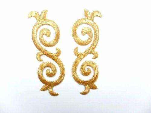 "Gold Embroidered Applique Metallic Designer Scroll Motif Mirror Pair 3.5/"" GB686X"