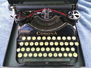 Antique Corona Four Portable Black Typewriter With Case 4 Classic Working Piece