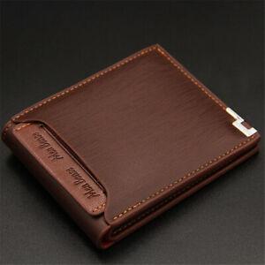 Slim-Business-Bifold-Money-Clip-Zipper-Purse-ID-Card-Holder-Men-Leather-Wallet