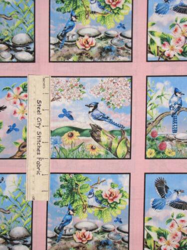Elizabeths Studio Feathered Friends Bird Scenes Blue Pink Cotton Fabric PANEL