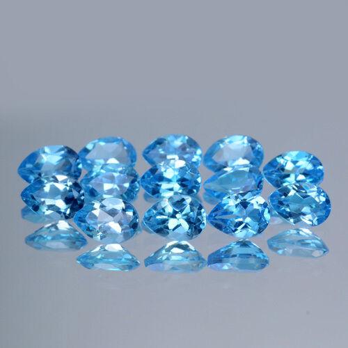 4x3mm Lot 1,2,6,10pcs Pear Calibrated Natural Gem Swiss Blue Topaz Brazil