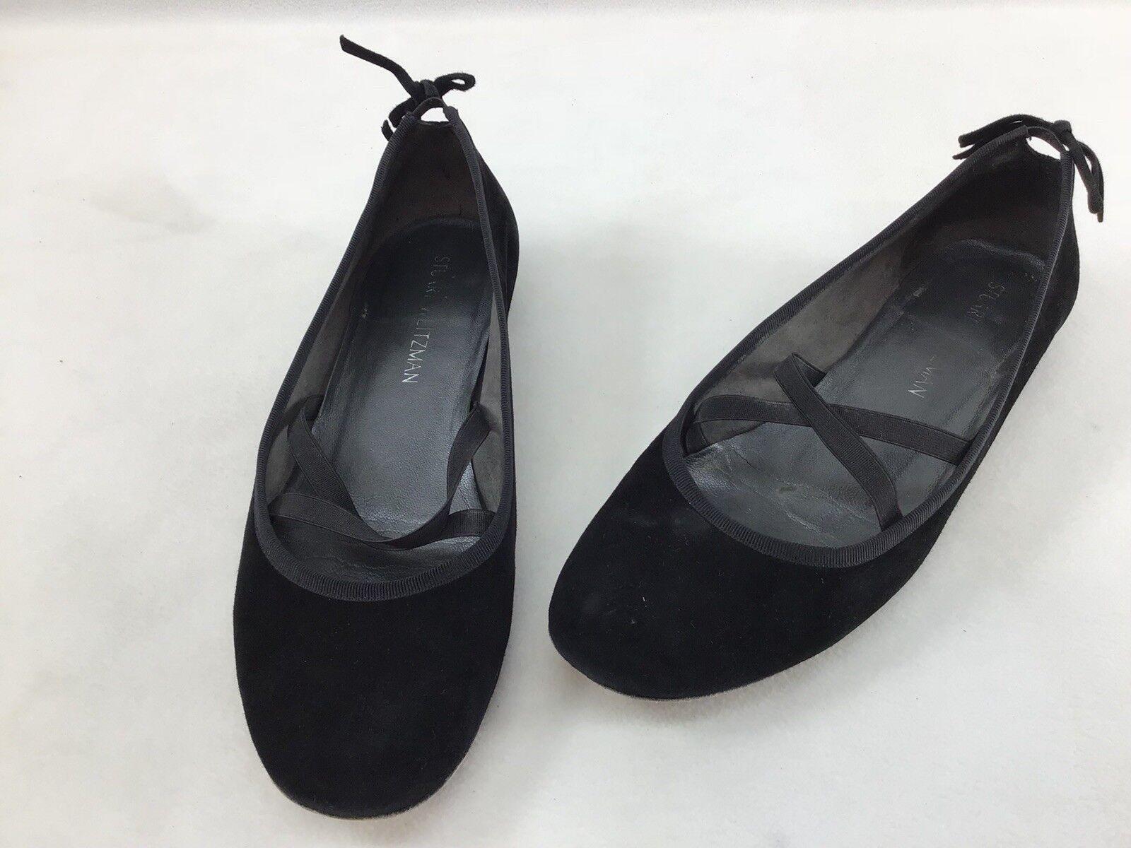 Stuart Weitzman Bolshoi Black Suede Suede Suede Ballet Flats Size 9.5M  F1654  de7008