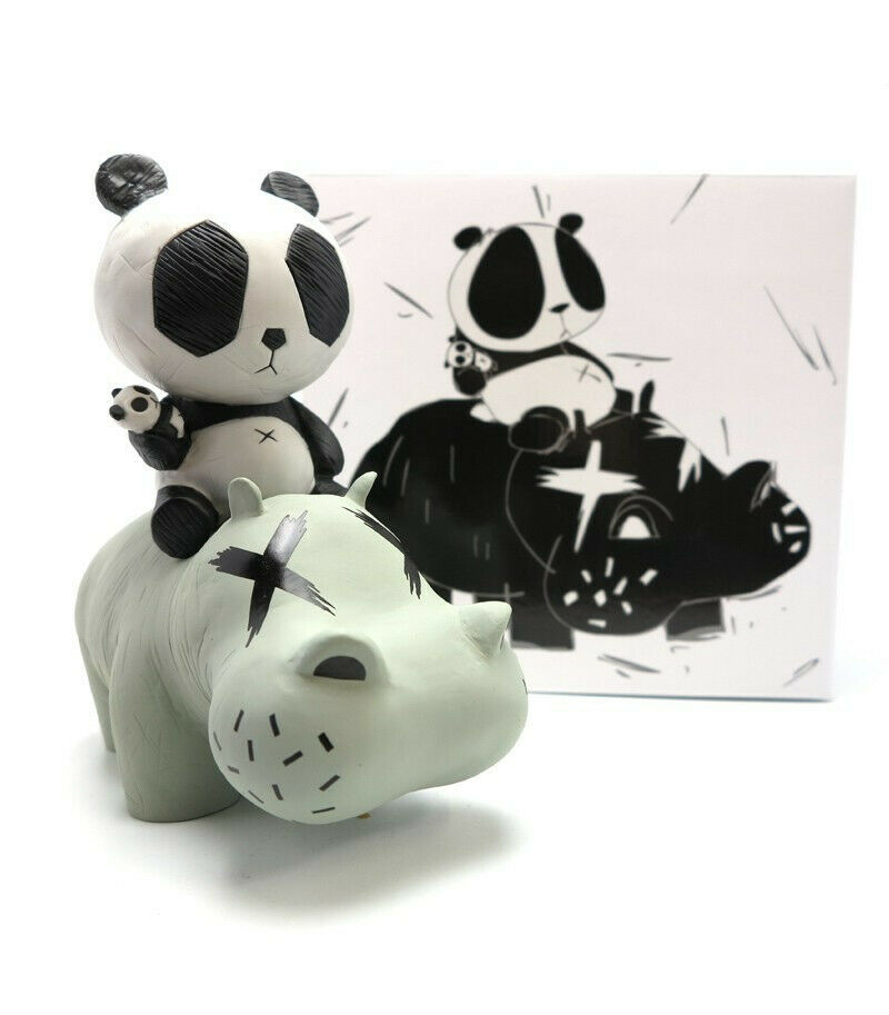 Cacooca PANDA RIDING A HIPPO 8  VINYL ART FIGURE P.R.A.H figurine dunny pop