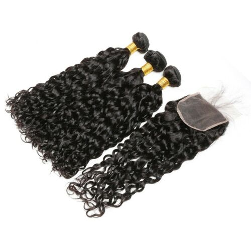 "Natural Wave 3 Bundles 18""20""22"" With 16"" Lace Closure Malaysian Virgin Hair"