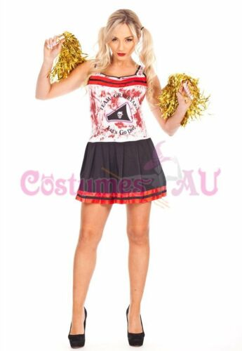 Ladies Halloween Zombie Bloody Cheerleader Costume Fancy Dress Party Outfits