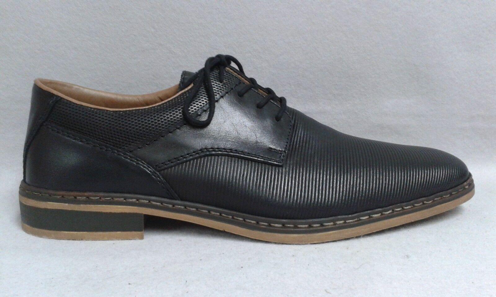 Rieker Schnürschuh schwarz elegant echt Leder geprägt weich gepolstert 0064