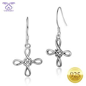 SEMAID-925-Sterling-Silver-Drop-Earrings-Ladies-Chinese-Knot-Hook-Dangle