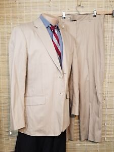 J-FERRAR-MODERN-FIT-MEN-039-S-2-PIECE-SUIT-IVORY-39S-COTTON-32-X-31-1-2-RN-93677