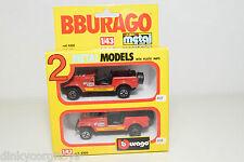 BBURAGO BURAGO 4200 GIFT SET GIFTSET 2 CARS JEEP CJ-5 CJ5 RALLY NEAR MINT BOXED