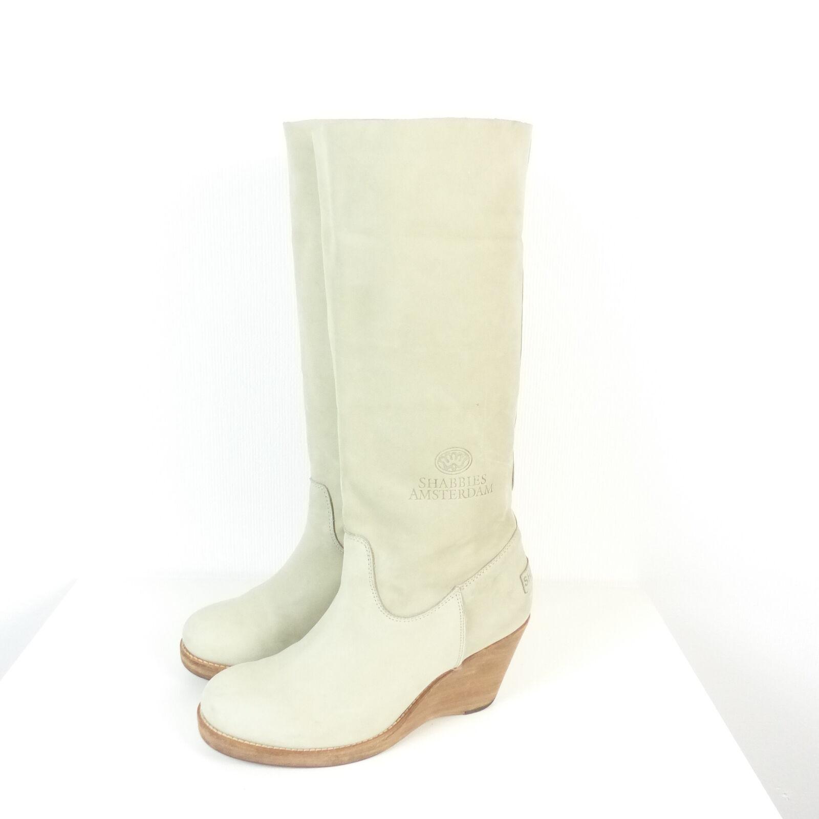 SHABBIES AMSTERDAM Stiefel Kleilabsatz Wedges Boots grey Gr. EUR 38 (N64)