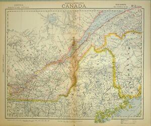 1883 Letts Landkarte Kanada Quebec St Francis Maine Neu Brunswick