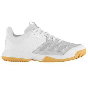 77ff9e3352d Details about adidas Kids Boys Ligra 6 Trainers Childs Squash Shoes Lace Up  Stripe