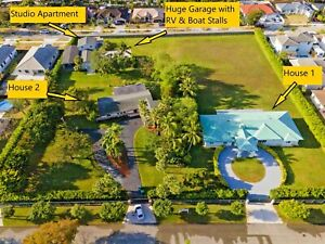 2.6 +/- Acre Family Compound in Miami, FL with Huge Garage/Workshop RV/Boat/Car
