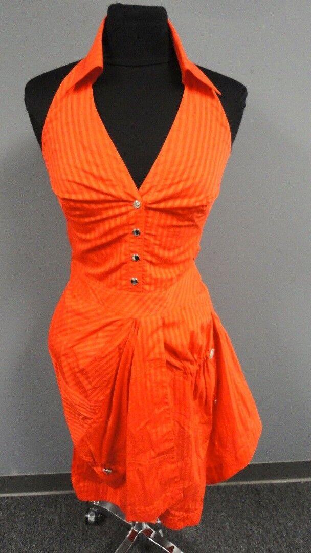KAREN MILLEN orange Cotton Striped Lined Belted Halter Dress Size 6 FF9371