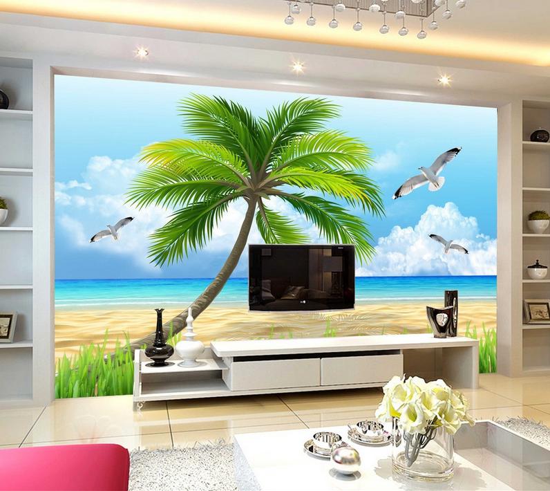 3D Blau Sky Tree Beach 833 Wallpaper Mural Paper Wall Print Wallpaper Murals UK
