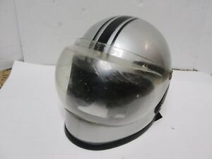 Vintage 1984 Vgii Full Face Motorcycle Helmet Gray Silver Racing