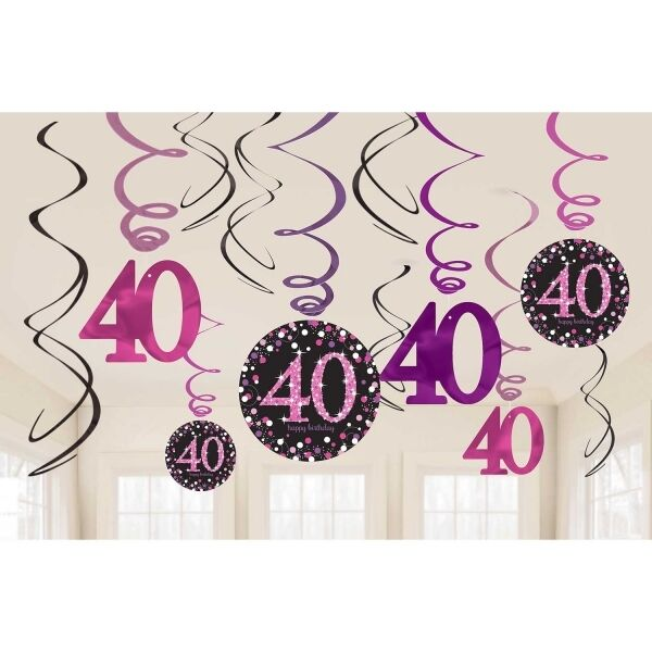 12 X 40TH BIRTHDAY PARTY HANGING SWIRLS PINK BLACK CELEBRATION DECORATION AGE 40