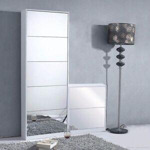 25-Pairs-Mirrored-Shoe-Cabinet-Storage-Organiser-5-Drawers-Shelf-Cupboards-White