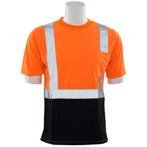 ERB Class 2 Reflective Black Bottom Short Sleeve Safety Shirt Orange