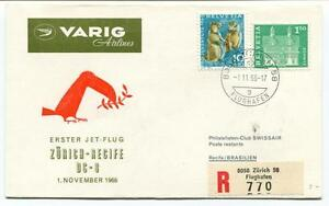 Discipliné Ffc 1966 Varig Airlines First Flight Dc 8 Zurich Recife Brasilien Registered CéLèBre Pour Des MatéRiaux SéLectionnéS, Des Conceptions Originales, Des Couleurs DéLicieuses Et Une Finition RaffinéE