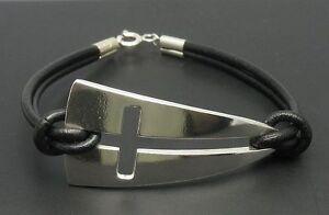 Sterling-Silber-Armband-Kreuz-mit-echtem-Leder-massiv-punziert-925-handgefertigt