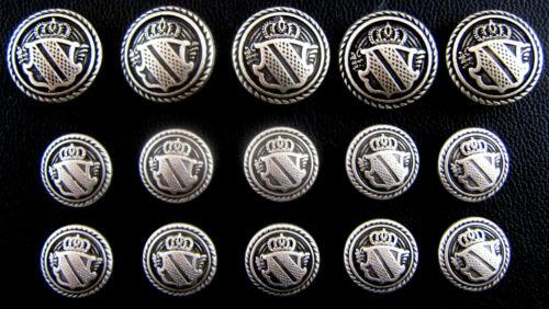Silver Metal Military Shield Blazer Buttons 4 sizes Free UK 1st Class P/&P