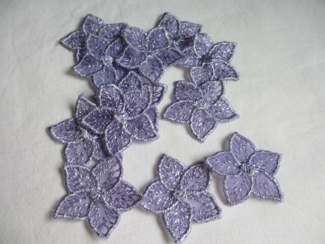 """1  1/2""""  Lavender Silver Embroidered FLOWER   Appliques - 12 Pieces"""