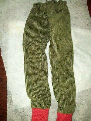 Appena Vintage Sindy Tressy Barbie Taglia Verde In Velluto A Coste Pantaloni Con Rosso Trim Bottoms-mostra Il Titolo Originale Può Essere Ripetutamente Ripetuto.