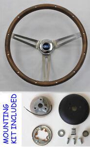 70-77-Mustang-Galaxie-Torino-LTD-15-034-Grant-Wood-Steering-Wheel-Ford-Cap