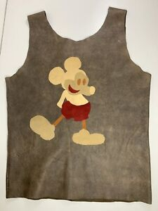 Disney Paris Vintage Mickey Mouse Leather Brown Vest Custom Handmade Waistcoat S