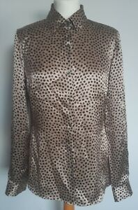 Austin Reed Womens Silk Spotty Animal Print Shirt Size 12 Ebay