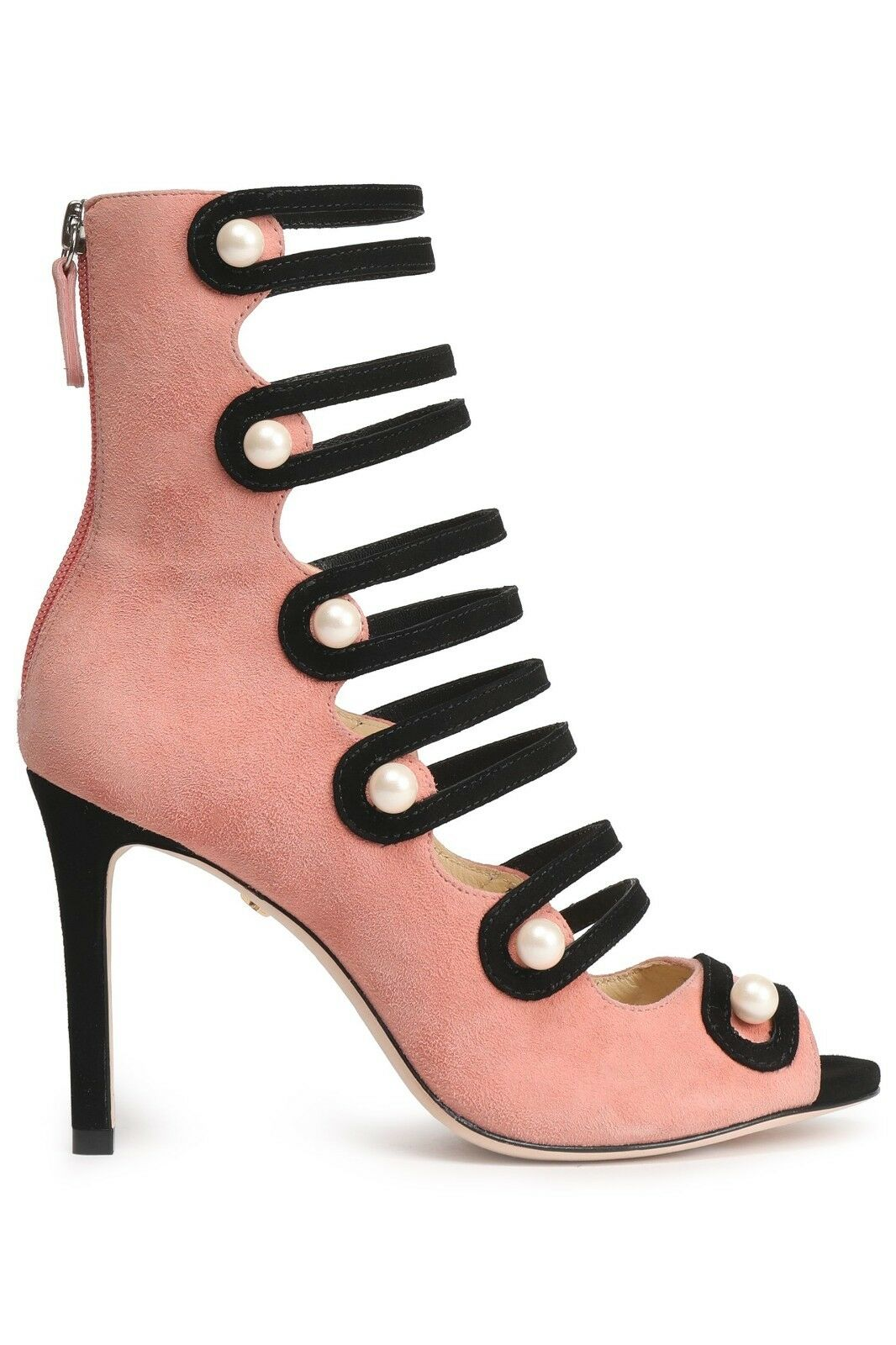 Isa Tapia Pearl-Studded Suede Bootie Sandals (38) (38) (38) b73d08