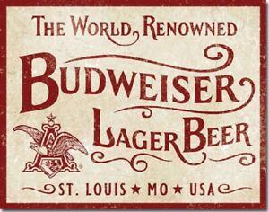 Budweiser World Renowned Anheuser Busch Bud Logo Retro Bar Decor Metal Tin Sign