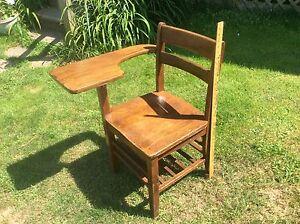 Details About Antique Wood School Desk Chair Oak Attached Table