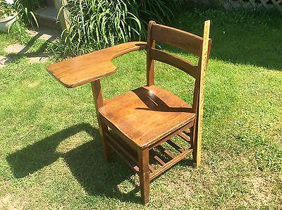 Tremendous Antique Wood School Desk Chair Oak Attached Table Ebay Unemploymentrelief Wooden Chair Designs For Living Room Unemploymentrelieforg